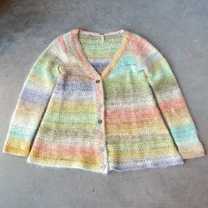 Free People Colorful Ombre Stripe Wool Cardigan L